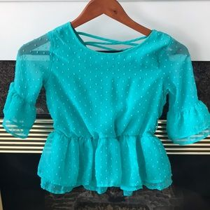 Girls teal dotted Swiss blouse